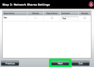 DNS-320 Network Share Settings