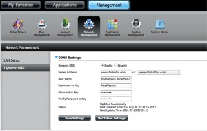DNS-320 Management Settings