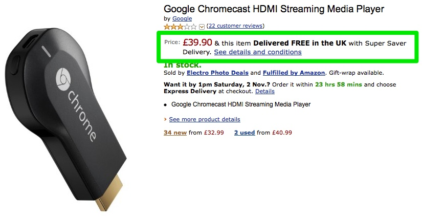 Chromecast is now £40 at Amazon UK