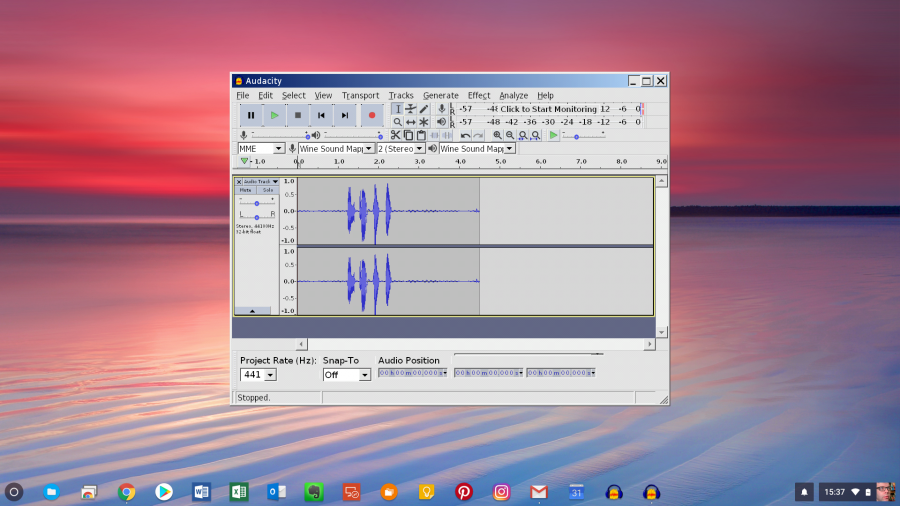 Audacity Running on Chromebook Using Cross Over