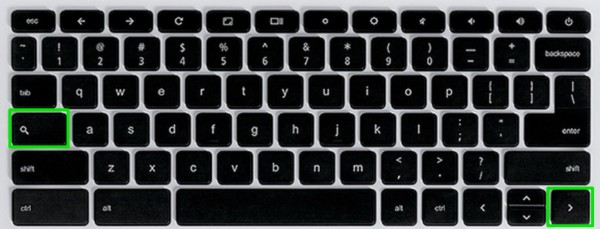Chromebook Keyboard Shortcuts Serach and Right Arrow